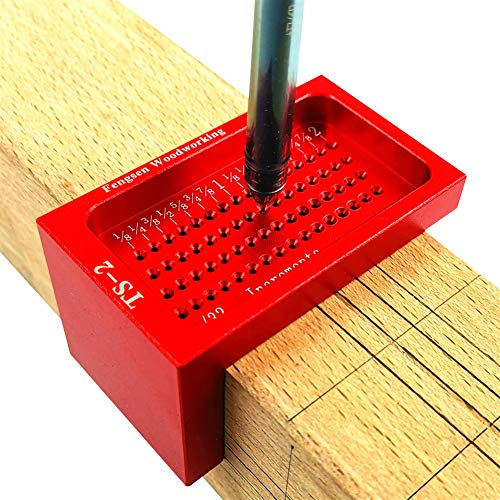Rojuicy Carpenter T-type Ruler Hole Measuring Tool Scriber Ruler Woodworking Tool Right Angle Ruler Red Handle Wood…