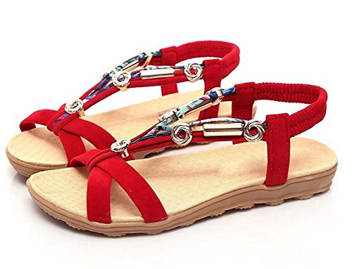 Tela zapatos de mujer sandalias de suela blanda con cuentas de cabeza plana sandalias de pescado Red