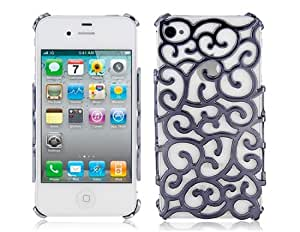 PC Hollow Designed Protective Case for iPhone 4 & 4S (Black)