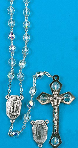 Lourdes Water Rosary Crystal Aurora Borealis Bead with the Centerpiece Containing Water From Spring At Lourdes. - SET OF 2 ROSARIES- Boxed (Aurora Borealis Crystal Rosary Beads)