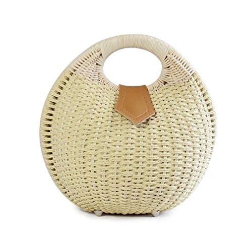SUKUTU Womens Summer Hand Weave Straw Top Handle Handbag ()