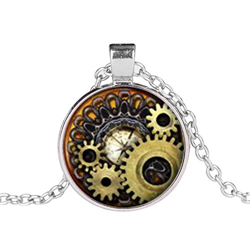 BYyushop Vintage Jewelry Steampunk Compass Gears Cog Cabochon Glass Pendant Necklace Gift - Silver