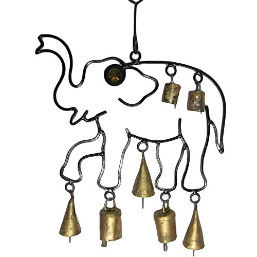 Indian Elephant Decorative Wind Bell Wall Home and Garden Good Luck Hanging Chime