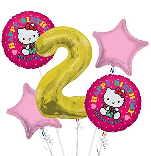 Hello Kitty Balloon Bouquet 2nd Birthday 5 pcs - Party Supplies