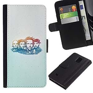 Billetera de Cuero Caso Titular de la tarjeta Carcasa Funda para Samsung Galaxy Note 4 SM-N910 / Band Music Portrait Man Faces People Drawing / STRONG