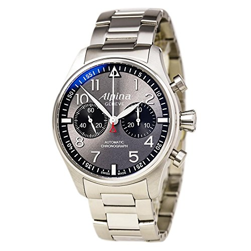 Alpina Startimer Pilot Chronograph Antracite Sunray Dial Stainless Steel Mens Watch AL-860GB4S6B