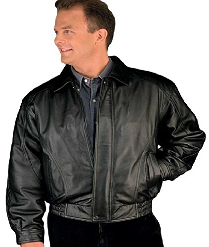 Reed Men's American Style Bomber Genuine Leather Jacket (3XT, Black) (Dress Men Leather Coat)