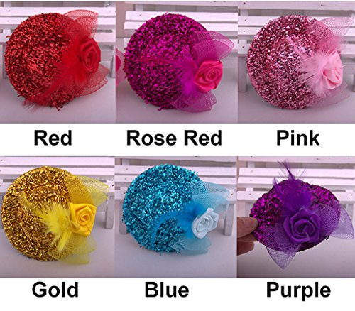 Outstanding Sequin Mini Feather Top Hat Bow Hair Clip Costume Accessory (Costumes With Purple Hair)