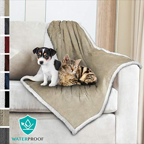 PetAmi Premium Waterproof Soft Sherpa Pet Blanket by Cozy, Comfortable, Plush, Lightweight Microfiber, 100% WATERPROOF (30 x 40, Taupe)