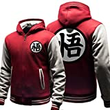 XCOSER Teens Goku Cosplay Hoodie Cotton Padded Jacket Costume Thicken Red XL