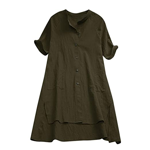 Nevera Womens Buttons Ladies Short Sleeve Linen Loose Tops Long T Shirt  Blouse (S 92a61ebe5