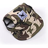 Happy Hours - Small Pet Dog Cat Baseball Visor Sports Hat Cap Puppy Summer Baseball Outdoor Ear Holes Sunbonnet Outfit Elastic Leather Neck Strap 6 Colors 2 Sizes Available (Camouflage, Size S)