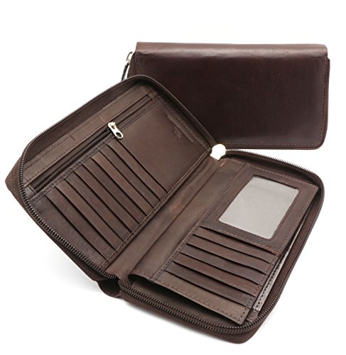 Bifold Brown Leather Checkbook Holder Zip Around Wallet with Detachable Flap -