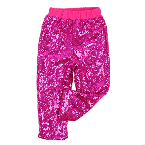 Cilucu Leggings for Baby Girls Toddler Sequin Pants Kids Birthday Clothes Sparkle on Both Sides Hot Pink 6T -