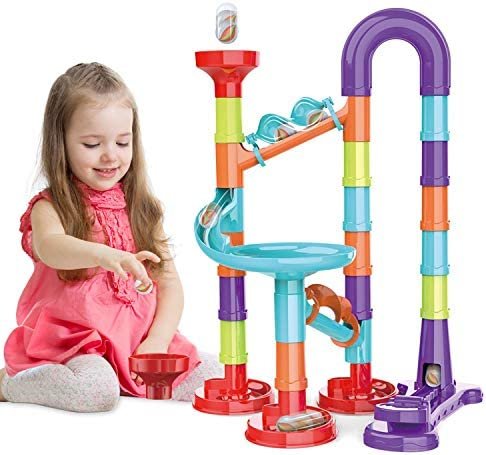 Enazon Marble Run Set for Kids STEM Toys Construction Building Blocks for 3 4 5 6 7 8 9 Year Old Boys Girls (45pics)