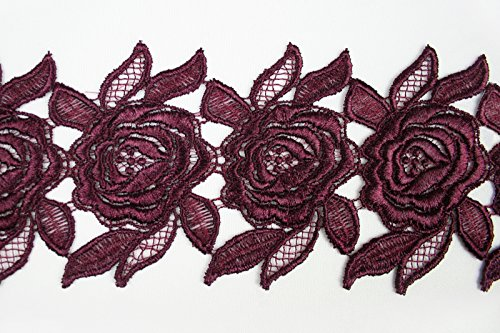 """Eggplant Plum 5/8""""~5-1/8"""" Embroidered Floral Venice Lace Trim Guipure By Yard (UB055 (3"""
