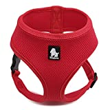 Pettom Soft Mesh Dog Harness No Pull Comfort Padded Vest for Small Pet Cat and Puppy (XS(Chest Size:11-13in), Red)