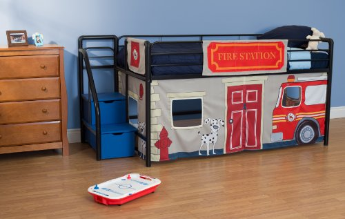 Amazon Com Dhp Curtain Set For Junior Loft Bed With Fire Department