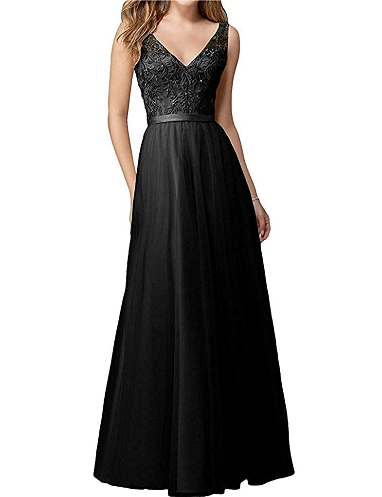 Black ZLQQ Women's Straps VNeck Tulle Bridesmaid Dresses 2019 Lace Wedding Praty Gowns