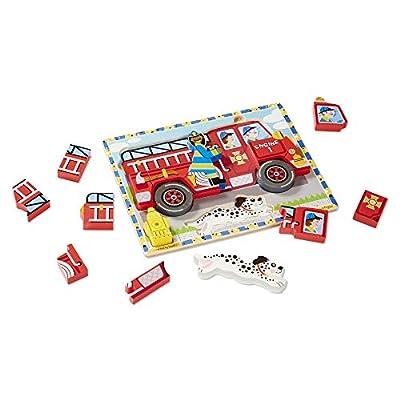 Melissa & Doug Deluxe Fire Truck Chunky Puzzle: Melissa & Doug: Toys & Games