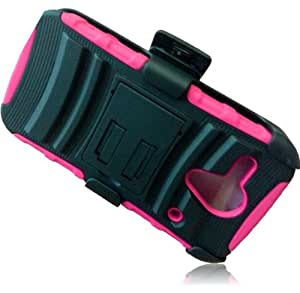 CY Dual Layer Armor Case whth Holster For Kyocera Hydro Edge C5215 (Package Include a Cystore Sylus Pen) (Black/Hot Pink)