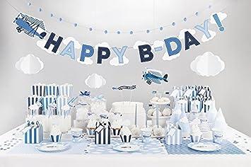 Xxl Party Deko Set 1 Geburtstag Kindergeburtstag Flugzeug Blau Fur