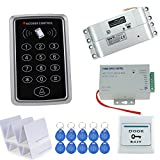 HFeng RFID Access Control System Kit Set 125KHz Reader Keypad Board with Power Supply Controller +Electric Drop Bolt Lock+ Door Exit Button Switch 1000 Users