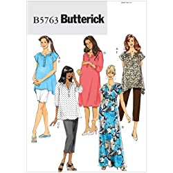 Butterick Patterns 5763 Misses' Maternity Top, Dress, Belt, Shorts and Pants, Sizes 8-10-12-14-16