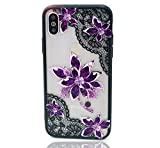 HUIYCUU Case Compatible with iPhone XS Max Case,Mandala Glitter Henna Black Lace Flower