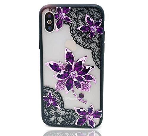 HUIYCUU Case Compatible with iPhone X Case,Mandala Glitter Henna Black Lace Flower Slim Fit Soft Bumper Shockproof Matte Hard Back Cover Girls Blossom Paisley Design for iPhone Xs 10, Purple Floral