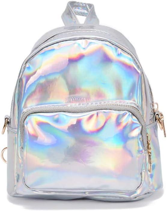 YCX Damas Holograma Lentejuelas de Cuero de la PU de Las Mini Mochilas Adolescente Bolsa de Hombro/Plata, Brillante Holograma láser PU de la Cremallera del Cuero Mochila,Blanco