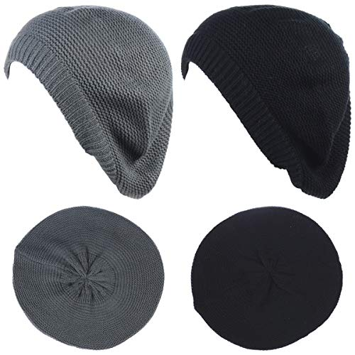- BYOS Chic French Style Lightweight Soft Slouchy Knit Beret Beanie Hat in Solid