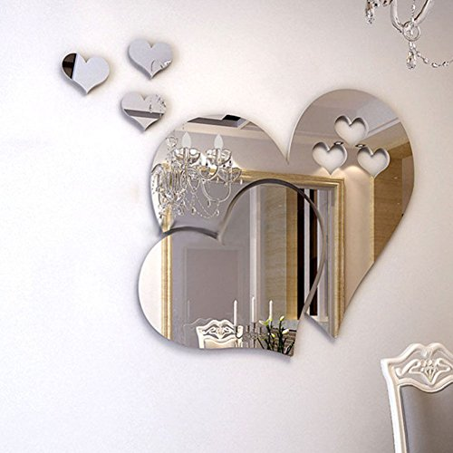 Bodhi2000 Home 3D Removable Heart Art Mirror Wall Stickers Living Room Art...