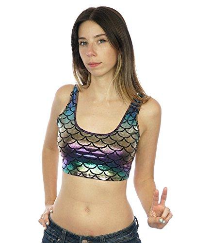 Women's Mermaid Scale Shiny Style Festival Rave Wear (Rainbow Mermaid Crop Top, Medium) (Nautical Crop)