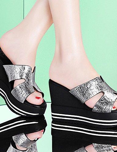 Plataforma Oficina Casual Vestido Zapatillas Black Creepers Zapatos de Plata Negro y Trabajo LFNLYX Sintético mujer Pantuflas wCq0tcS
