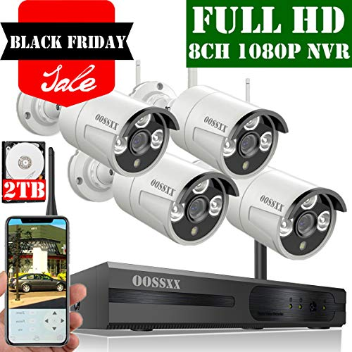 【2020 Update】 OOSSXX 8-Channel HD 1080P Wireless Security Camera System,4Pcs 1080P 2.0 Megapixel Wireless Indoor/Outdoor IR Bullet IP Cameras,P2P,App, HDMI Cord & 2TB HDD Pre-Install