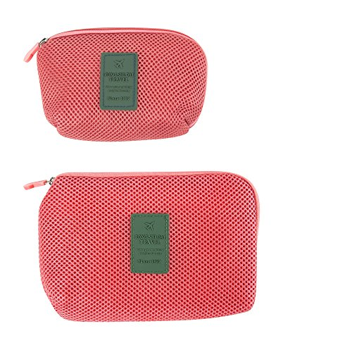 Accessories Bag as Makeup Bag Electronics Organizer Medicines Pouch Shockproof Nylon Fabric Travel Organizer Bag for Toiletries Trip Gadgets Organizer Pouch Set of 2 by Keeact (Baby Pink)