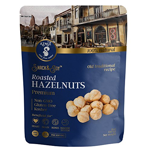 Roasted Hazelnuts Natural Non-GMO Certified, Unsalted, Dry Roasted, Kosher Certified, Resealable Bag 1 LB