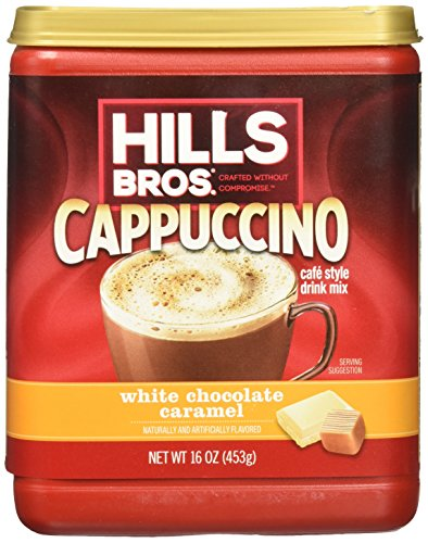 Hills Bros. Instant Cappuccino Mix, White Chocolate Caramel Cappuccino- Easy to Use, Enjoy Coffeehouse Flavor from Home- Frothy, Decadent Cappuccino with White Chocolate and Creamy Caramel (16 Ounces) ()