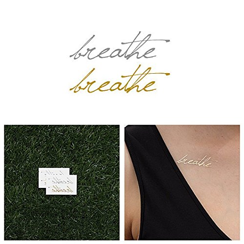 Tattify Silver And Gold Breathe Temporary Tattoo - Just (Set of 4) - Other Styles Available - Fashionable Temporary Tattoos (Henna Earth Tattoo)