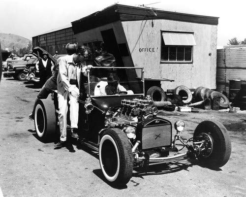 The Choppers Ford Model T drag care in junk yard 8x10 Aluminum Wall Art