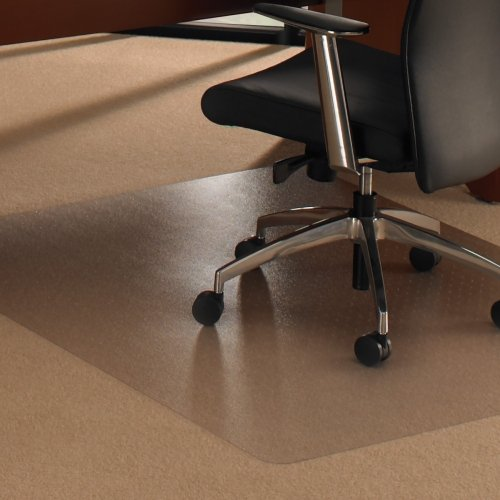 Cleartex XXL Rectangular Polycarbonate Chairmat - Carpet, Hard Floor - 60quot; Length x 60quot; Width - Polycarbonate, Polyvinyl Chloride (PVC) - Clear by Cleartex