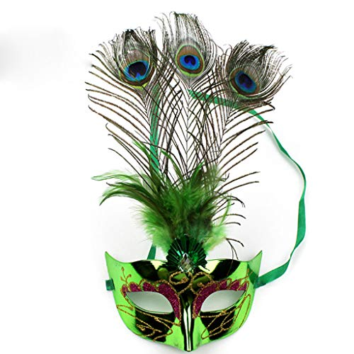 Liying mask- Party Ball Little Princess mask Catwalk mask Peacock Feather mask (Color : Green, Size : 17x34cm) - Green Feather Mask