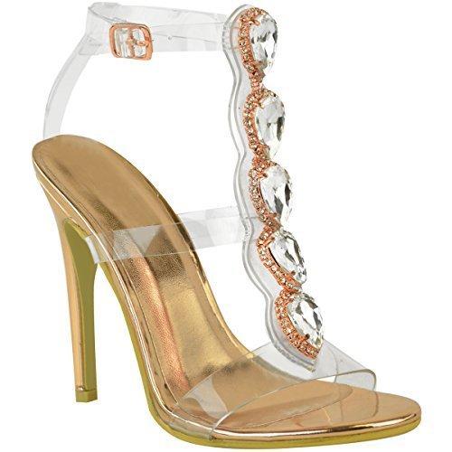 Brides Talons Bijoux Plexiglas bride Rose vintage métallisé Femme Sandales à Aiguille Fashion Thirsty doré WCqw4YSw