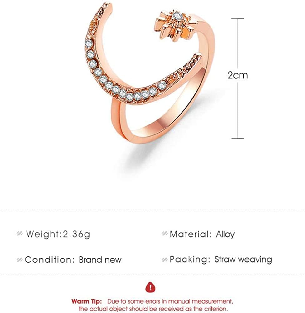 3Pcs Crescent Moon Star Ring Set Adjustable Gold Sliver Plated Crystal Star Moon Open Rings Finger Ring for Women Girls Wedding Bands Jewelry