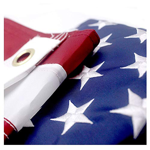 VSVO American Flag 2.5x4 ft with Durable 240D Nylon Outdoor Flags- UV Protected, Embroidered Stars, Sewn Stripes, Brass Grommets Outside US Flags.
