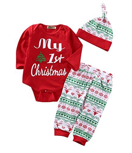 (Newborn Baby Boy Girl Deer Romper Pants Leggings Hat 3pcs Outfits Set Costume (12-18 Months,)