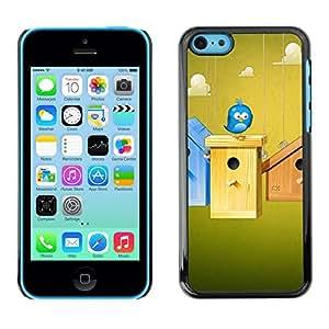 TECHCASE**Cubierta de la caja de protección la piel dura para el ** Apple iPhone 5C ** Birdhouse Blue Bird Sky Clouds Funny Home