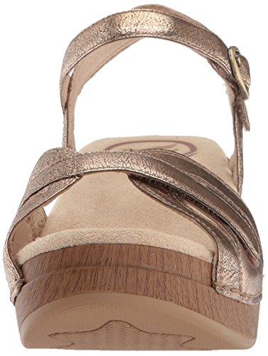 Dansko Womens Season Flat Sandal Gold Crinkle