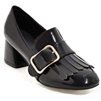 Veveca Women Tassel Buckle Leather Chunky Mid Heel Uniform Dress Oxfords Shoes Square Toe Peny Loafer Pump